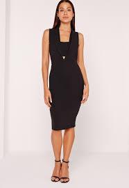 collared bandeau plunge insert midi dress black missguided