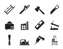 Silhouette Woodworking Industry And Tools Icons Stock Vector