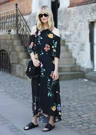Mules With Printed Sundress Minimalist Outfit Edgy Sandals Leather Slip On Cold Shoulder Retro Floral Dress