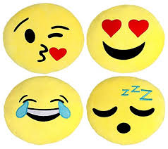 Emoji Pillows 4 Piece Set 30CM 12 Inches Yellow Round
