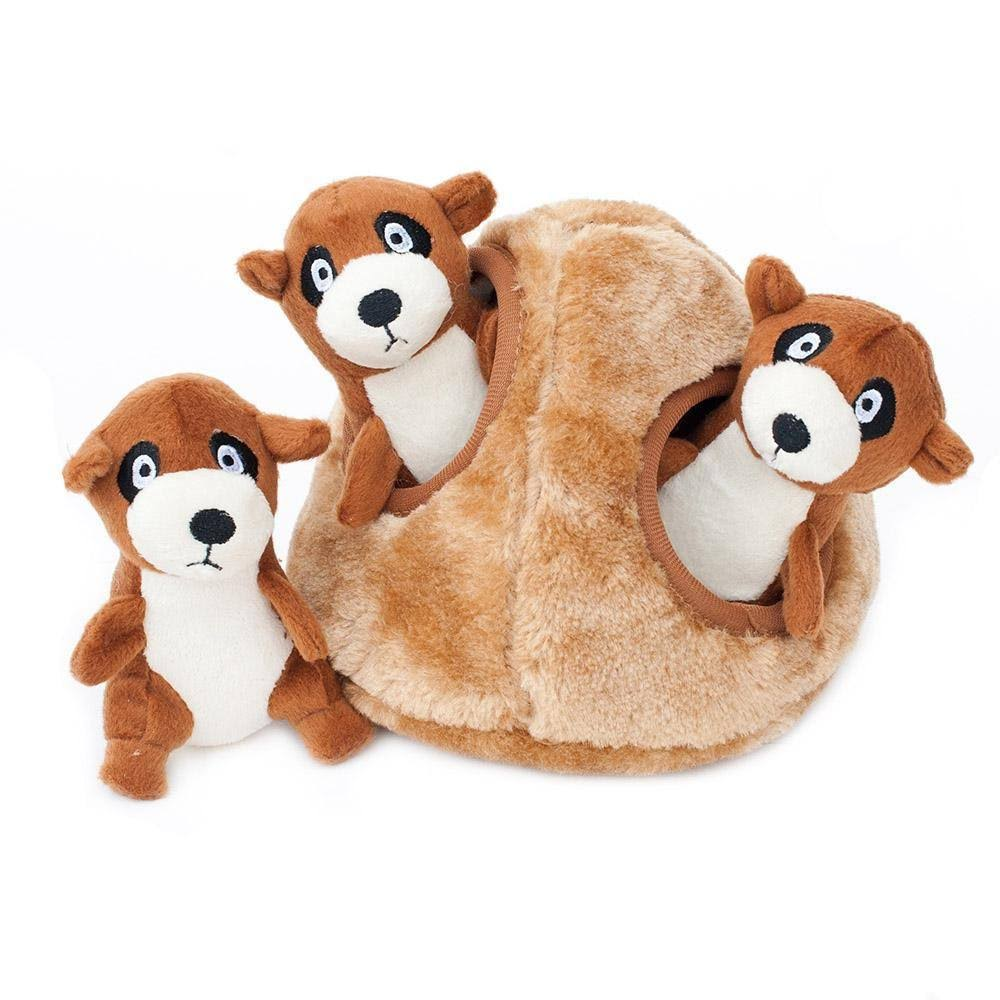 ZippyPaws Burrow Squeaky Hide and Seek Plush Dog Toy - Meerkat Den