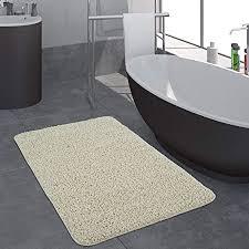 paco home moderner badezimmer teppich einfarbig hochflor badteppich rutschfest in creme grösse 40x55 cm