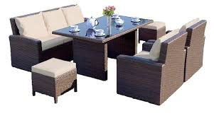 Abreo Grand Rattan Garden Furniture Sofa, Chairs & Dining Table Set With  Footstools (Brown With Light Cushions) Wicker Ding Room Chairs Sale House Room Marq 5 Piece Set In Brick Brown With By Mfix Fniture Durham Outdoor 7 Acacia Wood Christopher Knight Home Invite Friends And Family To Your Outdoor Ding Space Round Kitchen Table With It Would Be Nice If Solid Bermuda Pc Side Model 1421set1 South Sea Rattan A Synthetic Rattan Outdoor Ding Table And Six Chairs 4 High Back 18 Months Old Lincoln Lincolnshire Gumtree Amazoncom Direct Pieces Allweather Sahara 10 Seat Teak Top Kai Setting
