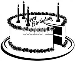 Description This black and white clip art illustration is of a birthday cake This image shows a black and white happy birthday cake with candles on it