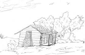 Pioneer Log Cabin Coloring Pages
