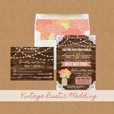 Best Day Ever Vintage Rustic Floral Wedding Invitation Suite Hanging String Lights Lace