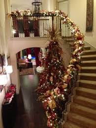 Burgundy Gold And Green Christmas Tree Banister Beautiful Decoration