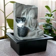 details zu led tisch brunnen buddha wasser spiel feng shui wohn raum dekoration grau