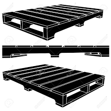 Black Skid Icon Pallets For Moving Vector Style Stock