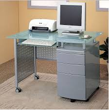 Glass And Metal Computer Desk With Drawers by Office Desks And Hutches Computer Desks Organize It