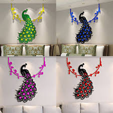 3D Decals Design Peacock Wall Stickers Sofa TV Background Home Decoration