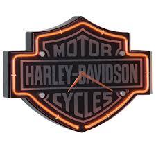 Harley Davidson Bathroom Decor by Amazon Com Harley Davidson Etched Bar U0026 Shield Shaped Neon Clock