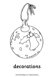Christmas Decorations Colouring Page