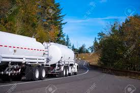 100 Semi Truck Trailers White New Big Rig Semitruck With Two Tank Trailers For Transportation