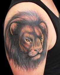 Great Lion Head Tattoo On Right Shoulder