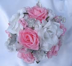 Pink Silver White Silk Wedding Flowers