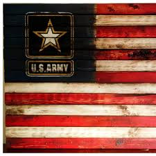 US Army Flag Sign American Military Wood Weathered