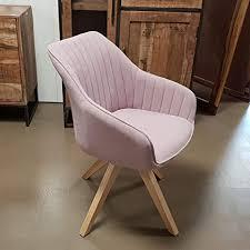 lifestyle for home stuhl sessel swivel retro polsterstuhl esszimmerstuhl mit massivholz gestell drehbar altrosa
