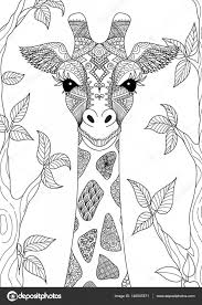 Zendoodle Design Of Giraffe Head In The Forest For Adult Coloring Book Page And Other