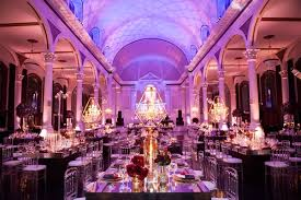 Vibiana Wedding Reception Room Shot With Chandeliers In Gold Frames Mirror Tables Purple Lighting