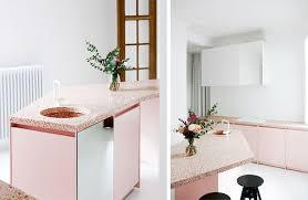 Pink Terrazzo Kitchen Countertop In White Interior
