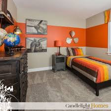 Candlelight Homes Utah Bedroom Kids Room Tan Carpet Orange