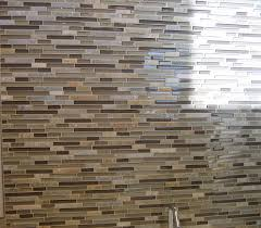 Glazzio Tiles Versailles Series by Anatolia Tile Bliss Glass Slate Cotton Wood Client Showroom