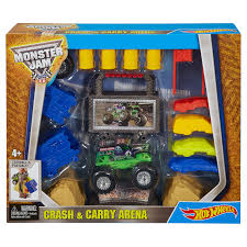 100 Monster Truck Crashes Hot Wheels Jam Crash Carry Grave Digger Playset