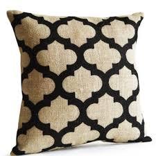 Trellis Burlap Pillow Cushion Cover Decorative Throw Geometric Ivory Black Jute
