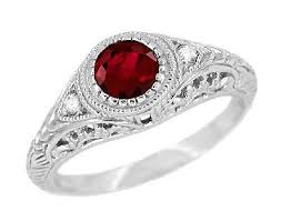 deco ruby and ring deco engraved ruby and filigree engagement ring in 14