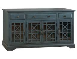 Bostwick Shoals Chest Of Drawers by Craftsman Blue Wood Glass Doors U0026 Drawers 60 Inches Media Console
