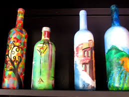 Decorative Wine Bottles With Lights by Kitchen Licious Front Porch Studio Hand Painted Wine Bottle