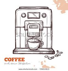Coffee Machine Black Hand Drawn Sketch Isolated Modern Espresso Maker In Vintage Engraved Style