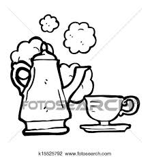 Clip Art Of Cartoon Coffee Pot And Cup K15525792
