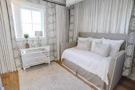gray daybed with gray medallion curtains and valance cottage
