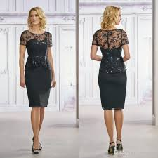 Jasmine Short Sleeves Mother The Bride Dresses Knee Length Lace