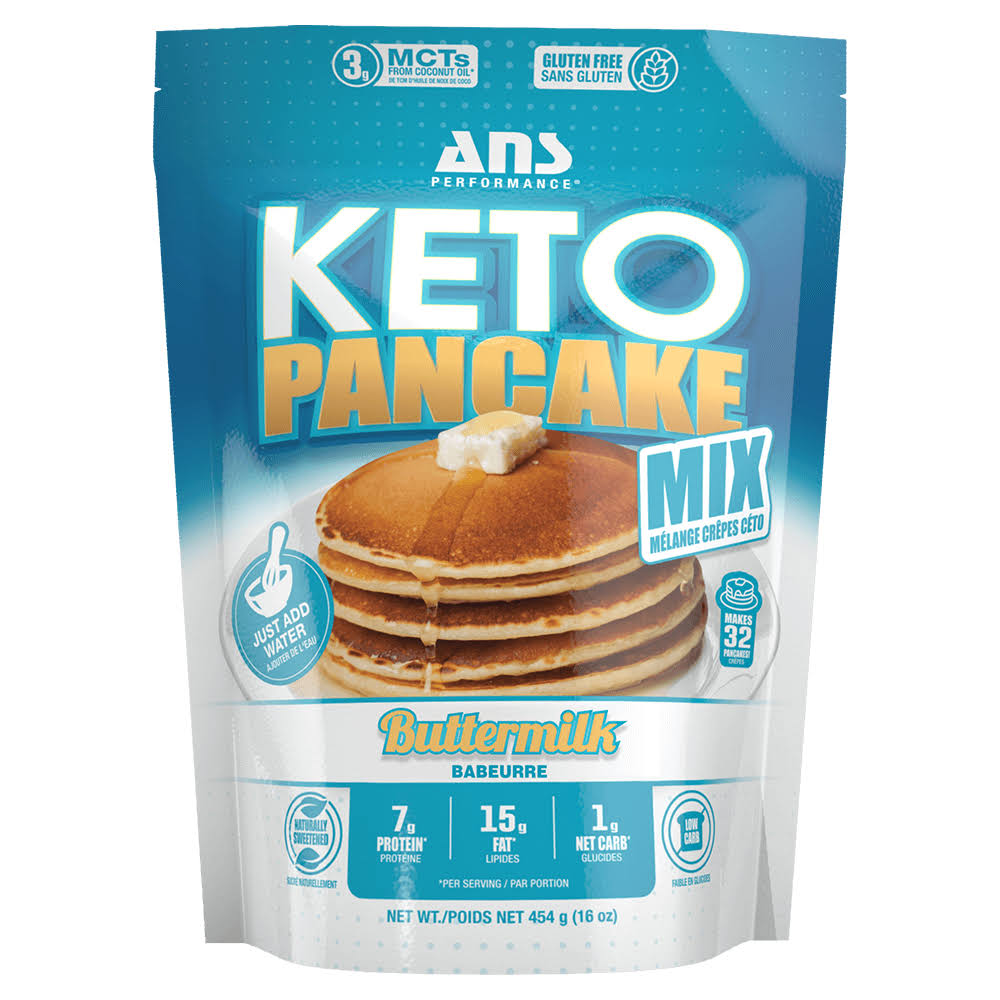 ans Performance Keto Pancake & Waffle Mix (16 Servings, 16 oz) - Low CARB, Gluten-Free, Paleo, Low Glycemic | Made with Natural Almond Flour, Easy