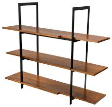 wood and black steel shelving unit display and wall shelves by