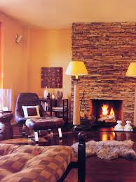 Theme Inspiration Decor Ideas In Yellow And Orange Color Decorating With Sunny Paint Colors Palette Rustic Living Room Stone Fireplace Console