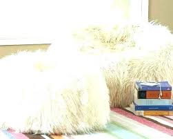 Giant Fluffy Bean Bag White Fur Cover Chair Faux Large Huge Furry