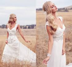 44Simple Lace Backless Rustic Wedding Dresses 2015 With Shiny Crystal