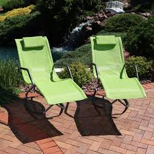 Sunnydaze Rocking Chaise Lounge Chair With Headrest Pillow, Outdoor Folding  Patio Lounger, Green, Set Of 2