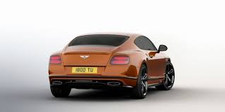 Rear of an orange Bentley Continental GT Speed Black Edition with black detailing