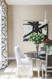 Black And White Artwork With Matching Curtains Flowers Dining