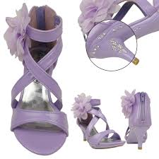 girls dress sandals strappy rhinestones high heel flower lilac