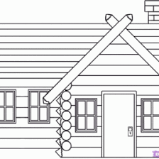 Log Cabin Coloring Page AZ Pages