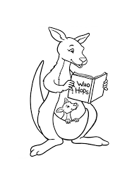 Kangaroo And Baby Reading A Book Coloring Page