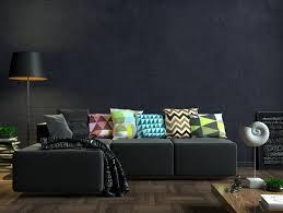 3d illustration modernes wohnzimmer mit schwarzem sofa