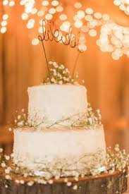 Rustic Wedding Cake Babys Breath We Do Wired Topper