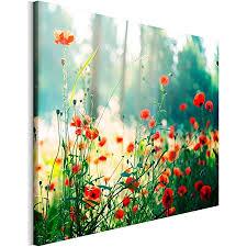 revolio 50x40 cm leinwandbild wandbilder wohnzimmer modern kunstdruck design wanddekoration deko bild auf leinwand bilder 1 teilig blumen mohnblumen